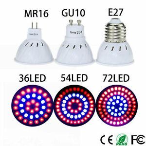 GU10 E27 MR16 36/54/72LED Full Spectrum Grow Light Bulb Plant Bulb Garden Supply