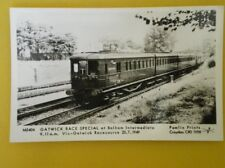 POSTCARD RP GATWICK RACE SPECIAL ELECTRIC TRAIN AT BALHAM INTERCHANGE 1949