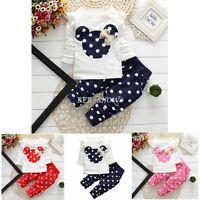 2 Pcs Nuevo Minnie Mouse Bebe Niña Ropa Camiseta+De Lunares pantalón Niño Trajes