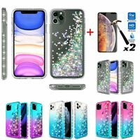 For iPhone 11 Pro Max Case Hybrid Quicksand Bling Rubber Cover+Screen Protector