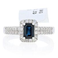 NEW Sapphire & Diamond Halo Ring - 18k White Gold Women's .75ctw