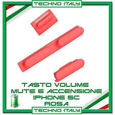KIT TASTI per IPHONE 5C ACCENSIONE On/Off+VOLUME+MUTE MUTO Ricambi 5C ROSA