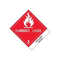 """Tape Logic Labels, """"Methanol"""", 4""""x4 3/4"""", Red, 500/Roll"""