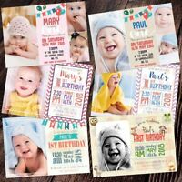 Personalised Photo party invites invitations BABY FIRST BIRTHDAY 1ST Free Proofs