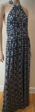 TORY BURCH Blue Grey Jersey LAGUNA Print  Halter Sleeveless Maxi Dress Sz:M
