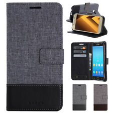 Hybrid Flip Wallet Case Canvas Leather Cover for Samsung Galaxy A3/5/7/6/8+ J3/7