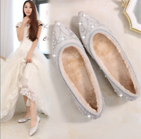 Silver Ladies Loafers Pointed Toe Wedding Bridal Shoes Flat Rhinestones White US