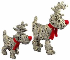 TWO RED NOSE REINDEER SCARF WILLOW CHRISTMAS DECORATIONS H64CM & H42CM