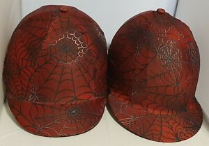 RIDING HAT COVER - SPIDER WEB - BLACK & RED - HALLOWEEN