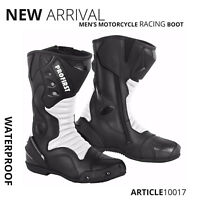 Motorbike Racing Boot Waterproof High Ankle Motorcycle Leather Shoes Armoured CE