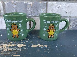 2016 Waffle House Christmas Coffee Mug Waffle Holidays Gingerbread Lot Of 2