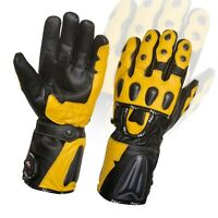 Winter Leather Gloves Motorcycle Motorbike Racing Thermal Yellow