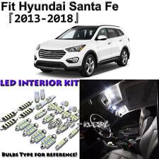 9 x White Interior LED Lights Package Kit for Hyundai Santa Fe 2013 2014 - 2018