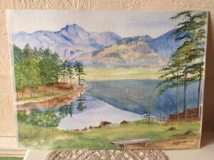 Original Water Colour Painting Blea Tarn Cumbria English Lakes Signed M M