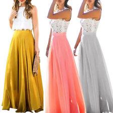 Pretty Women Chiffon High Waist Maxi Dress Skater Flared Pleated Long Maxi Skirt