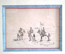 BEAU DESSIN MILITAIRE ANCIEN A L'ENCRE SIGNE C.H 1890