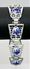 Style Porcelain Cabochon Link Bracelet* 3865~Vtg Light Aluminum Blue White Dutch