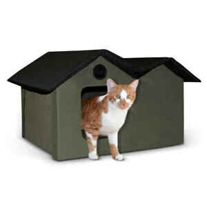 K&H PET PRODUCTS 3971 Olive / Black UNHEATED OUTDOOR KITTY HOUSE EXTRA WIDE O...