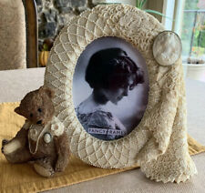vintage victorian cameo pearl teddy bear Oval Picture frame 5x7 Sweet Darling!