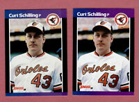 1989 CURT Schilling Rookie DONRUSS #635 ERROR 2 CARD LOT RCS ORIOLES 1* & 2* S