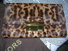 NWT $695 Michael Kors Cheetah Gia Clutch Shoulderbag Brown Haircalf Lock Animal