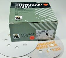 """5"""" 120 Grit Hook & Loop Sandpaper Disc 8 Hole Rhynogrip WhiteLiine Indasa 55-120"""