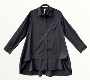 COMFY USA BLACK LAGENLOOK CATHERINE TUNIC SHIRT LARGE