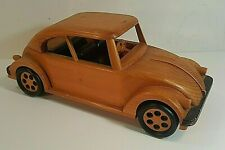 HAND CRAFTED MINIATURE WOOD VOLKSWAGEN BEETLE BY WOODEN COLLECTIONS Must See!