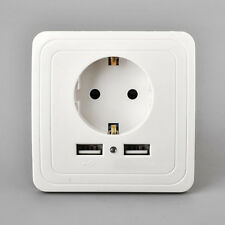 EU-Plug Dual 2 USB Port Wall Socket Charger Power Receptacle Outlet Plate New