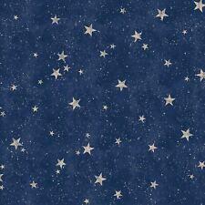 CROWN M1490 NAVY / GOLD STARLIGHT STARS WALLPAPER WITH METALLIC HIGHLIGHTS