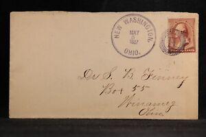 Ohio: New Washington 1887 #210 Cover, Fancy Violet 4 Ring Circled H Cancel