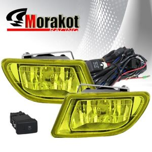 Honda Odyssey 99-04 OEM Front Bumper Left+Right Fog Light Yellow+Switch+H1 Bulb