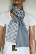 GUCCI Strickschal mit GG -Muster 40x180 cm Wolle blau NEU 344994