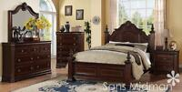 NEW! Chanelle Queen Size Bed Set, 4 pc Traditional Cherry Wood Bedroom Furniture