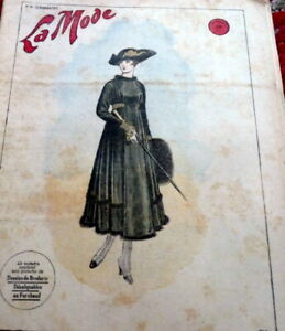 *Antique 1910s PARIS FASHION & SEWING PATTERN CATALOG LA MODE 1916 + Transfer