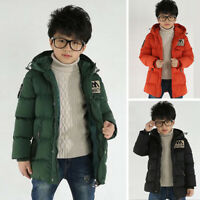 Winter Children's Hooded Boys Coat Parka Lined Quilted Jacket Warm Thick Outwear
