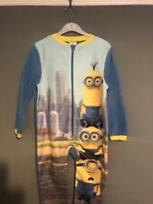 NEW BOYS GIRLS MINIONS FLEECE SOFT TOUCH ALL IN ONE LOUNGE SUIT 7-8-9-10 YEARS