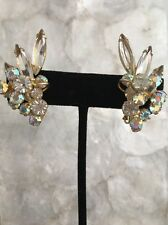 Vintage D&E Juliana Clip Earrings Rhinestone Goldtone Aurora Borealis