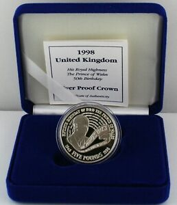 1998 Prince Charles 50th Birthday Silver Proof Crown £5 coin, COA, Box