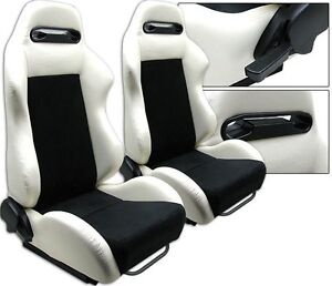 NEW 2 X WHITE & BLACK RACING SEATS RECLINABLE W/ SLIDER FOR CHEVROLET *****