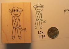 sock monkey rubber stamp miniature P17
