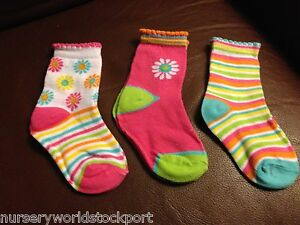 baby babies girls cotton rich ANKLE socks pink fruit flowers (3 PACK) BRIGHT