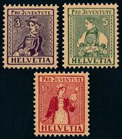 SCHWEIZ 1917, MiNr. 133-135, 133-35, tadellos postfrisch, Mi. 90,-