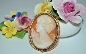 Vintage Hand Carved Shell Cameo Brooch 12K G.F. Aynsley England Cara Roses