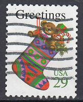USA Briefmarke gestempelt 29c Greetings Socke Strumpf / 1305