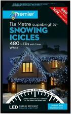 PREMIER 480 LED SNOWING ICICLES WITH TIMER COOL BRIGHT WHITE 11.8MTR
