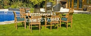 Solid teak 8 Seater Garden Dining Table Set. Stacking chairs and cushions