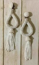 DESIGNER INSPIRED HANDCRAFTED WHITE BEADED TEARDROP LONG TASSEL CLIP ON EARRINGS