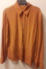 Casual Corner Annex Blouse Rust 100% Silk Long Sleeve Blouse Size 8