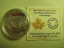 2014 Proof $20 White-Tailed Deer #2-Challenge COIN&COA ONLY Canada .9999 silver